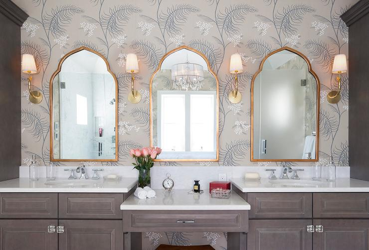Brown Bath Vanity with Gold Mirror  Transitional  Bathroom