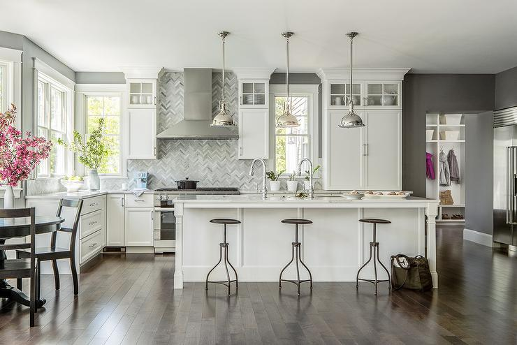 Gray Kitchen with Backless Wood and iron Stools