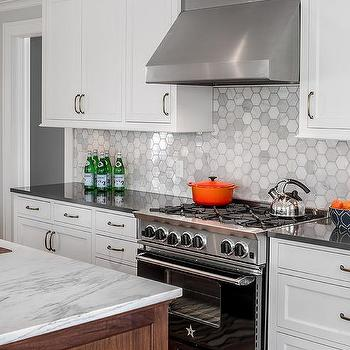 kitchen faucet stainless steel sink strainers white vent hood with black range - transitional