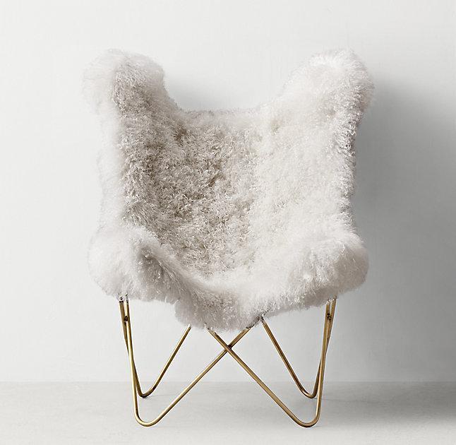 Large White Mongolian Lamb Brass Legs Bench