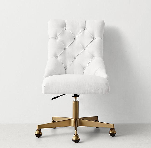 white linen chair outdoor wedding chairs button tufted adjustable antiqued brass caster desk
