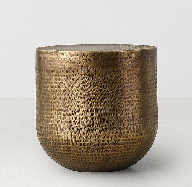 Hammered Pattern Brass Low Side Table