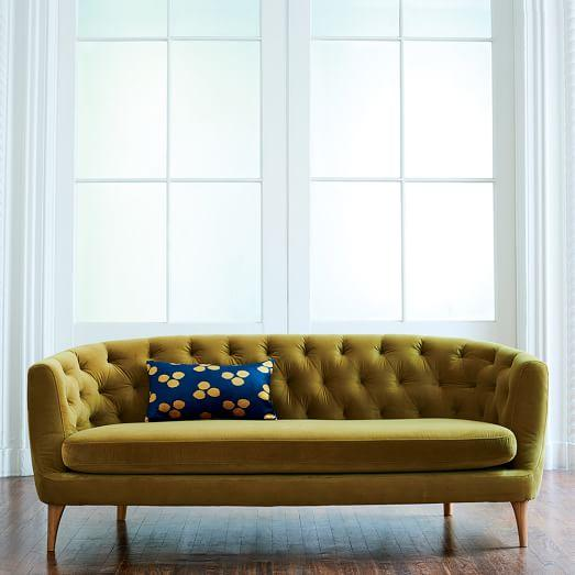 curved tufted sofa rose slipcover green avec with brass legs