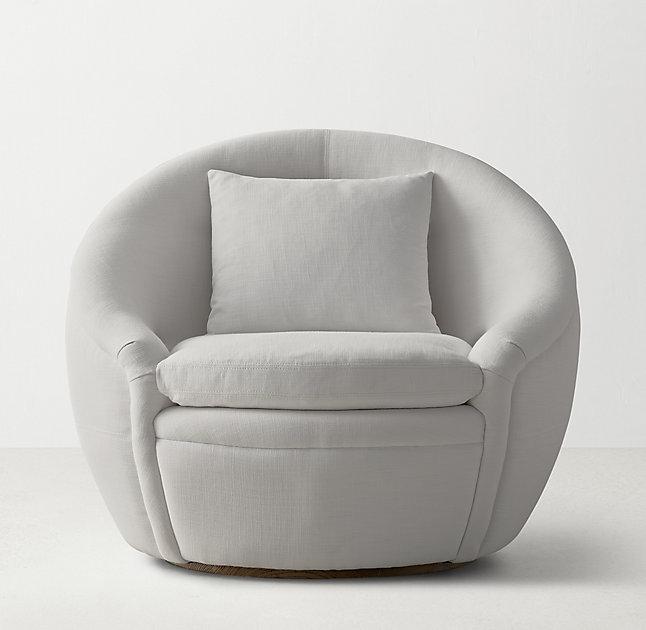 Gray Velvet Round Back Chair