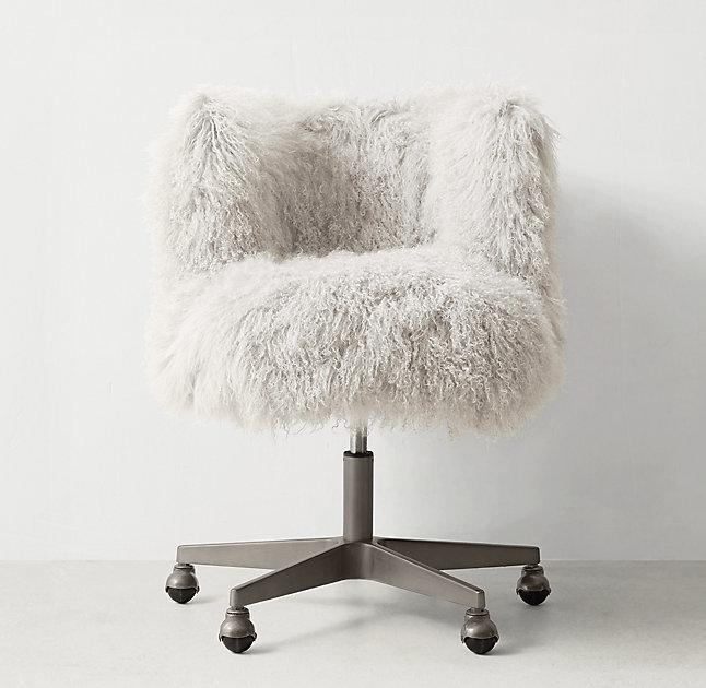acrylic desk chair with cushion folding covers and sashes pink faux fur cabriole legs