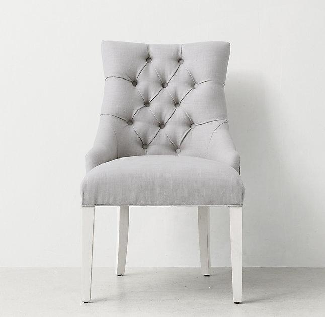 white tufted chair baby blue covers light gray button desk