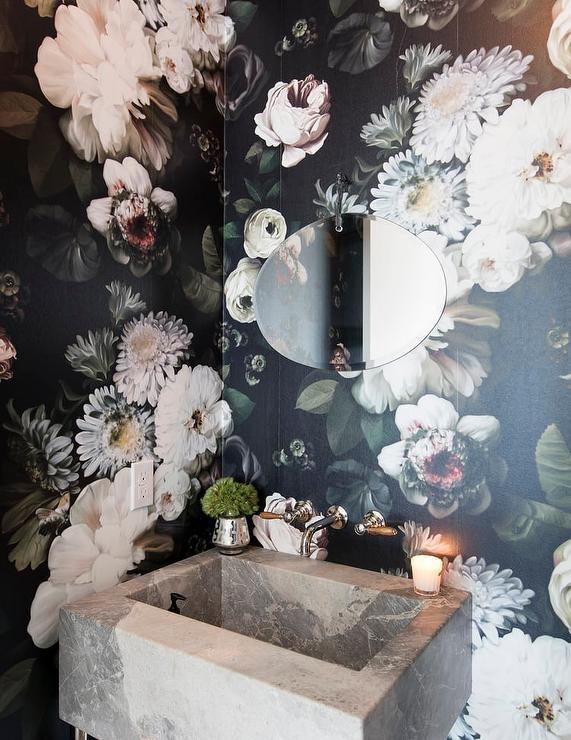 Whimsical Powder Room with Concrete Sink  Eclectic  Bathroom