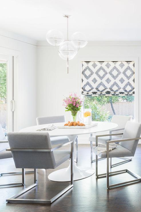 modern gray dining chairs best chair after back surgery alyssa rosenheck oval marble saarinen table with