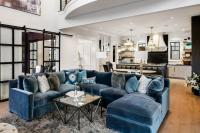 Blue Velvet Sectional with Blue Chaise Lounge
