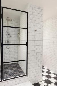 Black and White Shower Tiles - Contemporary - bathroom - HGTV