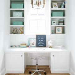 Rolling Bath Chair Large Lounge White Built In Desk With Tiffany Blue Acccents - Transitional Den/library/office