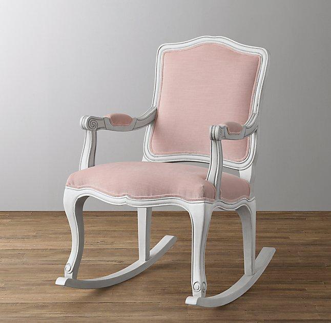 pink nursery rocking chair anime bean bag french dusty petal vintage velvet rocker