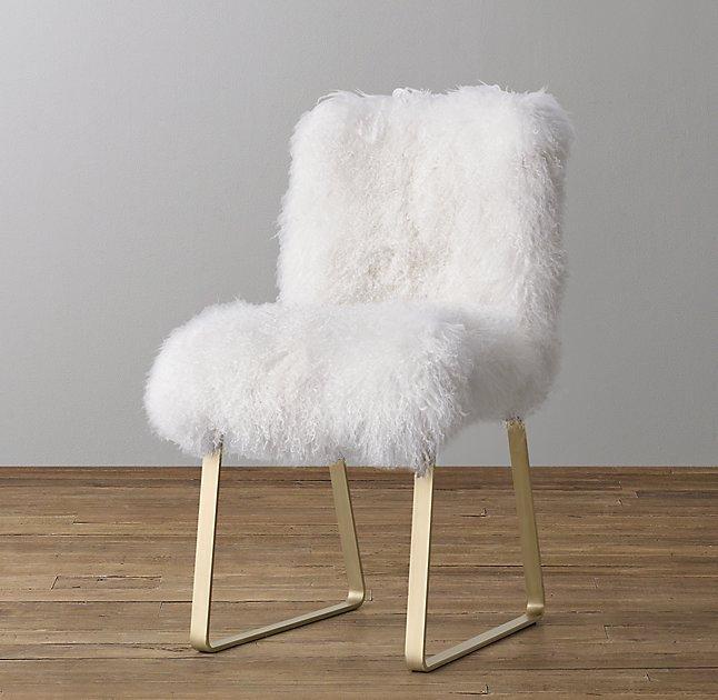 White Faux Fur Acrylic Legs Desk Chair