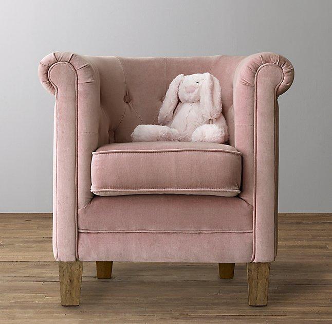 velvet tufted chair inflatable bed mini ondine pink salon bench
