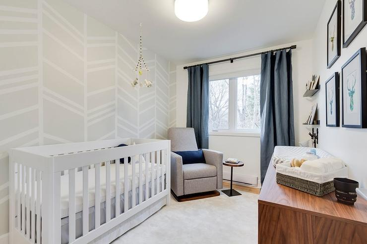 White and Blue Boy Nursery with Gray Painted Accent Wall  Transitional  Nursery  Benjamin
