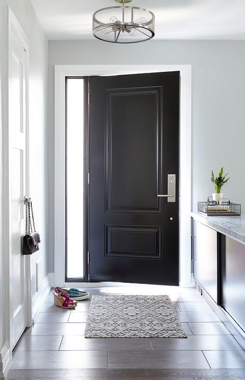 Blue Foyer with Blue Closet Door and Gray and Blue