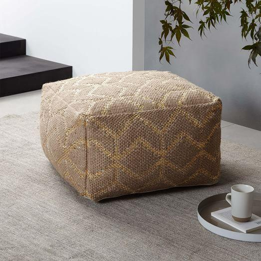 Leather Woven Fabric Pouf Ottoman