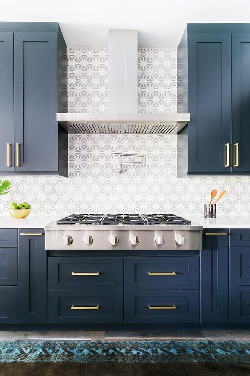 Alyssa Rosenheck Blue Shaker Kitchen Cabinets With Long