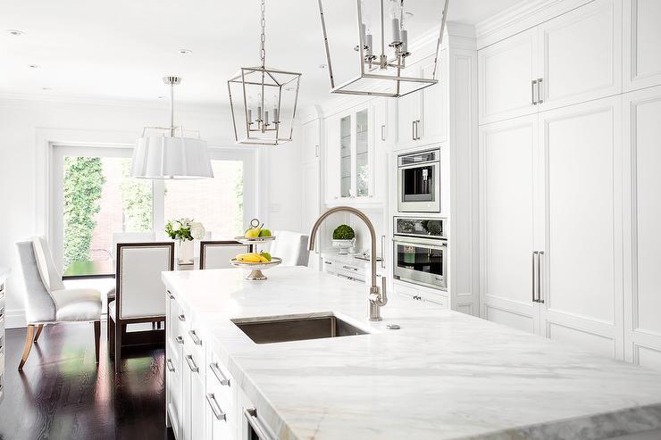 light pendants for kitchen cow off white cabinets with black backsplash tiles ...