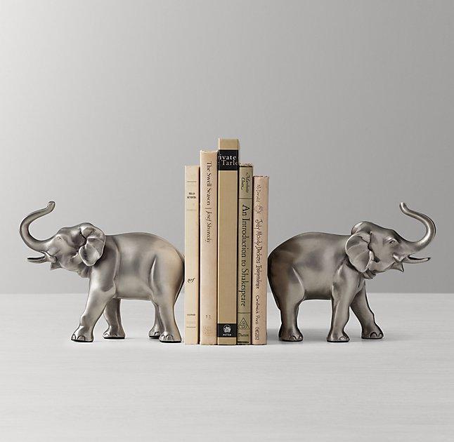 Baby Girl Nursery Pink Wallpaper Silver Elephant Bookends