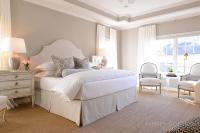 Dove Gray Velvet Tufted Bed with White and Gold Hotel ...