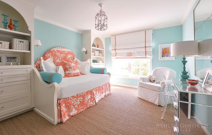 Turquoise Girls Bedroom with Orange Toile Daybed