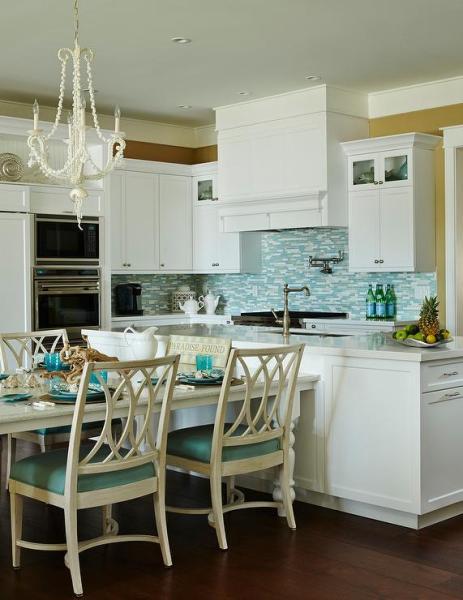 beach house kitchen backsplash Silver and Blue Mosaic Kitchen Backsplash Tiles - Cottage