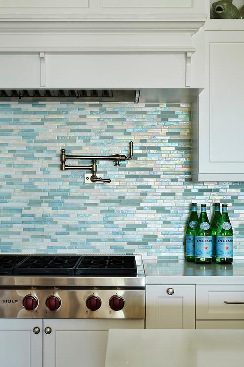 silver and blue mosaic kitchen