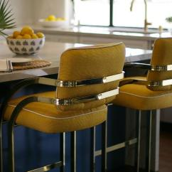 Large White Kitchen Island Corian Sinks Blue Gray With Brass T Pulls - Hollywood ...