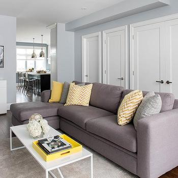 grey yellow living room coffee and gray design ideas sofa with chaise lounge pillows