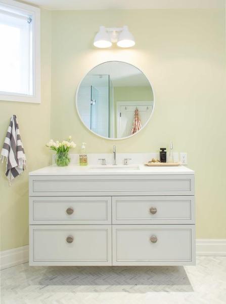 yellow and grey bathroom mirror Pink Kid Bathroom Door with Yellow Washstand
