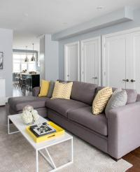 Gray Yellow White Living Room