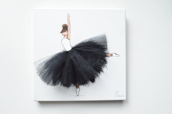 Modern Nursery Wallpaper Girl Nursery Ballerina Hand Painted Canvas Art