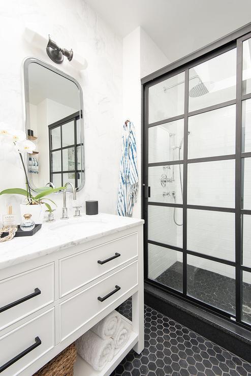 Large Round Mirror with Black Bath Vanity  Contemporary  Bathroom