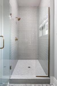 Walk In Shower with Gray Glass Subway Tiles and White ...