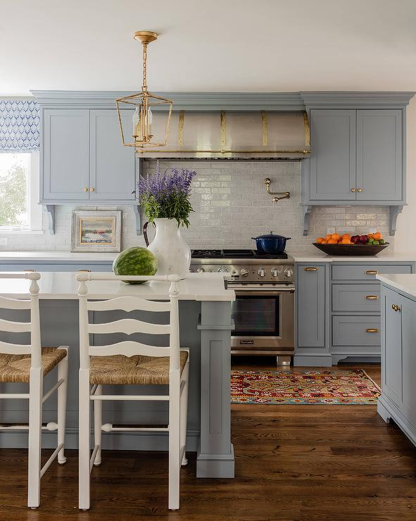 Beautiful Blue Gray Kitchen Cabinets With Antique Br ... on country kitchen ideas, italy kitchen ideas, glass kitchen ideas, exotic kitchen ideas, easy install kitchen backsplash ideas, mahogany kitchen ideas, outdated kitchen ideas, retro kitchen ideas, pewter kitchen ideas, rustic kitchen ideas, pine kitchen ideas, stained kitchen ideas, chinese kitchen ideas, furniture kitchen ideas, california kitchen ideas, high gloss black kitchen ideas, craft kitchen ideas, fiesta kitchen ideas, saltbox kitchen ideas, vintage small kitchen ideas,