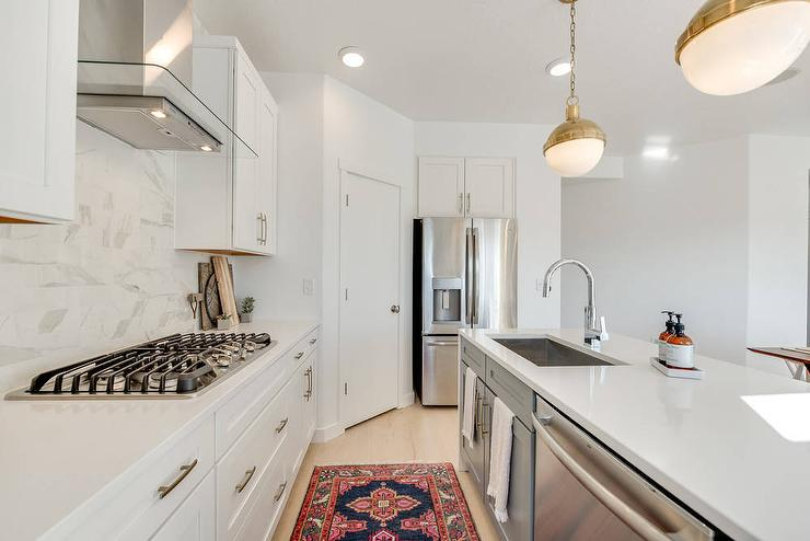 corner pantry next to refrigerator