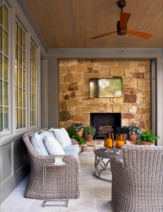 stone patio fireplace wall with tv