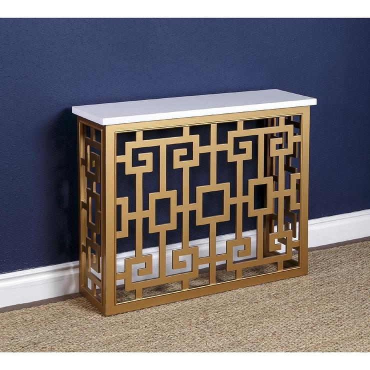 Black And Gold Two Drawer Sofa Table
