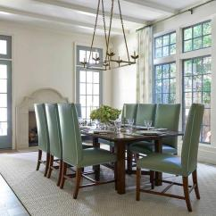 Green Dining Room Chairs Chair Cover Rentals San Jose White And With Limestone Fireplace Transitional