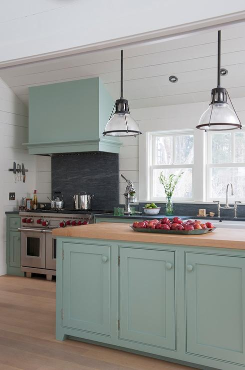 Light Blue Kitchen Hood On Sloped Ceiling Country Kitchen