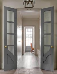 Long and Narrow Home Office with Gray Bi Fold Doors ...