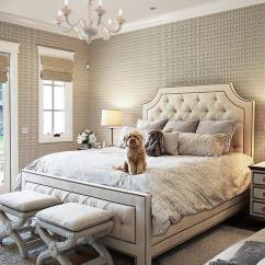 Tufted Gray Sofa In Living Area White Nailhead At End Of Bed - Transitional Bedroom