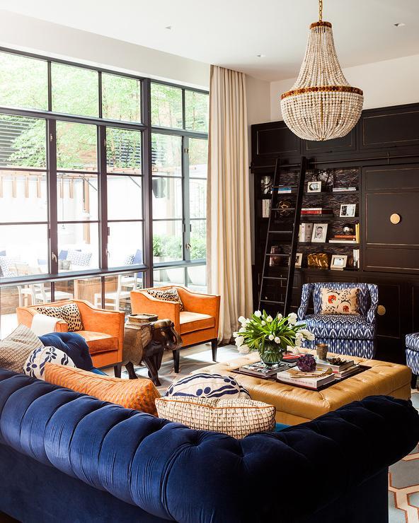 Orange And Blue Living Room Design Ideas