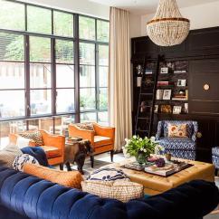 Blue Velvet Chesterfield Sofa Rv Jackknife Craigslist With Orange Pillows Contemporary