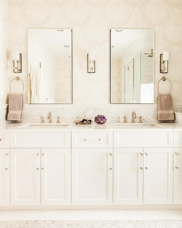 Purple Bathroom with Purple Lotus Wallpaper  Contemporary