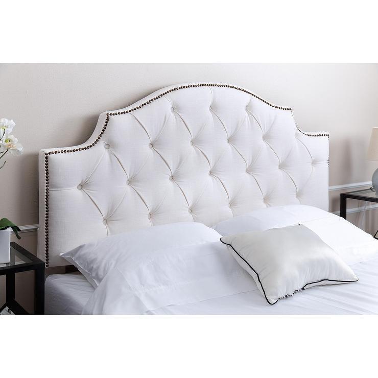 royal tufted white linen headboard
