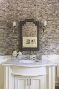 White and Gray Powder Room with Wainscoting - Transitional ...