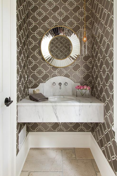 Floating Powder Room Vanity with Curved Bowl Sink and Wall