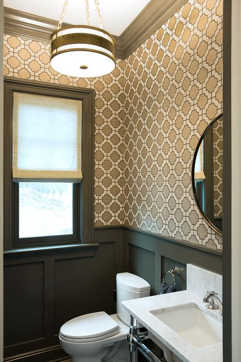 Geometric Wallpaper Contemporary Bathroom Evars And